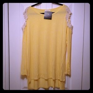 Yellow Cold Shoulder Tunic Size Large